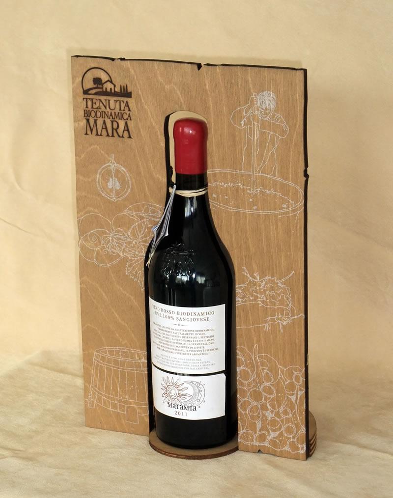 Espositore da banco in legno per bottiglia di vino